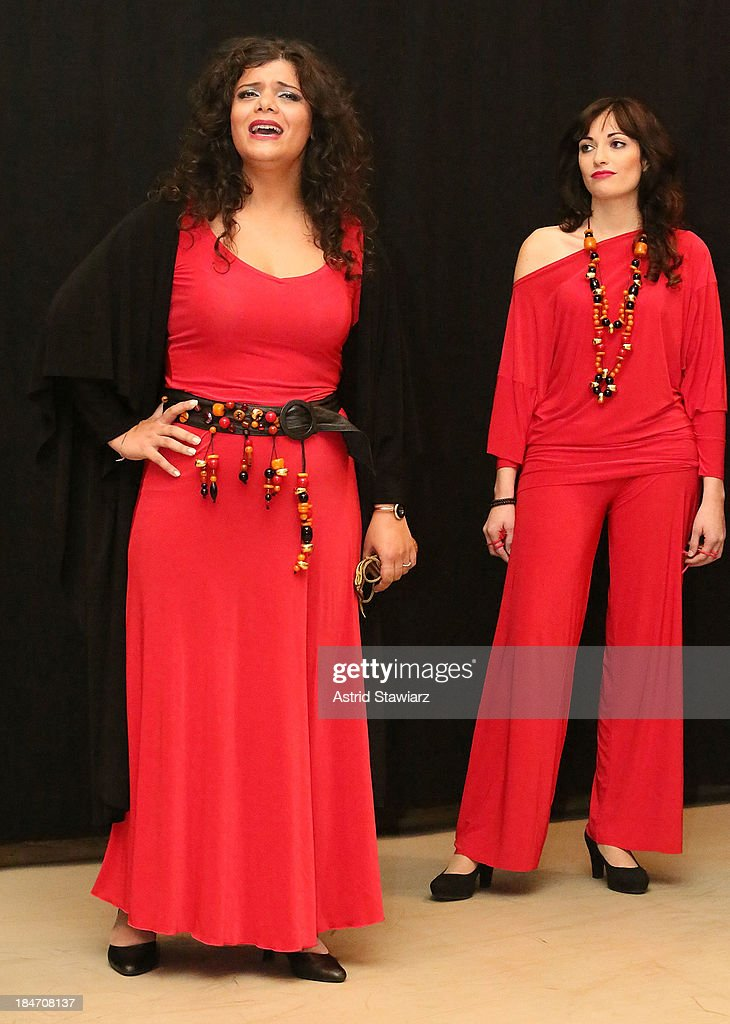 Singers Annalisa Madonna and Nicoletta Battelli perform during the 'Voices Of Italy' press preview on October 15, 2013 in New York, United States.