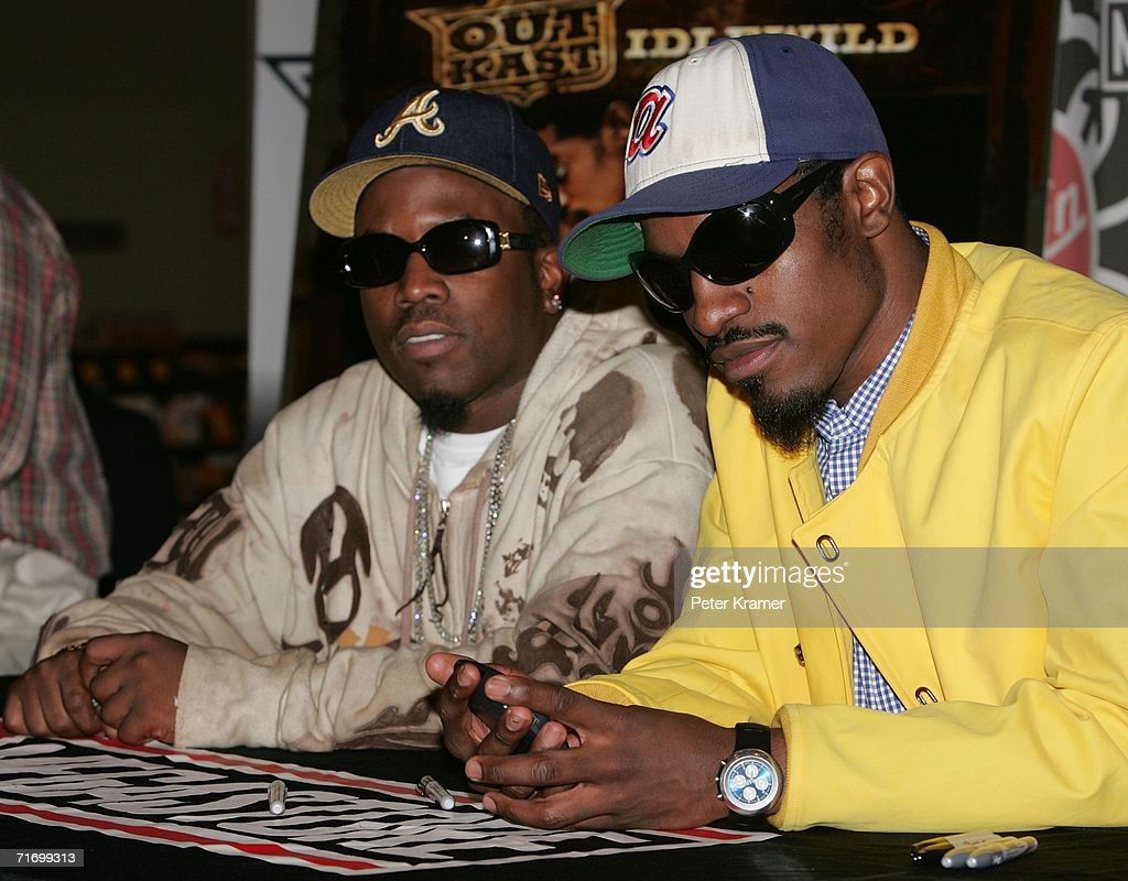 Singers Antwan Andre Patton (L) and Andre Benjamin from the music group Outkast make an appearance at Virgin Megastore in Times Square to promote their new 'Idewild' CD on August 22, 2006 in New York City.