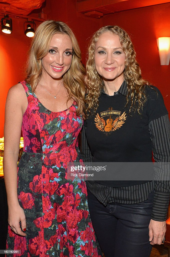 Singers Ashley Monroe and <a gi-track='captionPersonalityLinkClicked' href=/galleries/search?phrase=Joan+Osborne&family=editorial&specificpeople=984585 ng-click='$event.stopPropagation()'>Joan Osborne</a> attend the All For the Hall New York concert benefiting the Country Music Hall of Fame at Best Buy Theater on February 26, 2013 in New York City.
