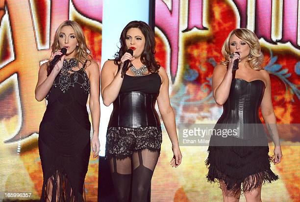 Singers Ashley Monroe Angaleena Presley and Miranda Lambert of Pistol Annies perform onstage during the 48th Annual Academy of Country Music Awards...