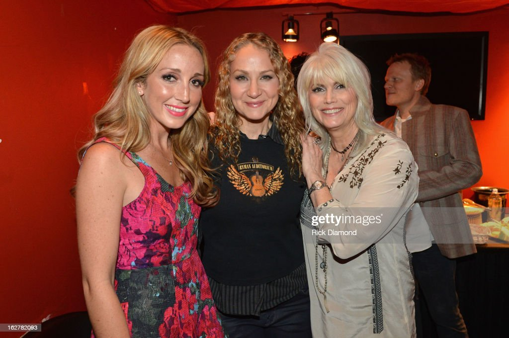Singers Ashley Monroe, Joan Osborne and Emmylou Harris attend the All For the Hall New York concert benefiting the Country Music Hall of Fame at Best Buy Theater on February 26, 2013 in New York City.