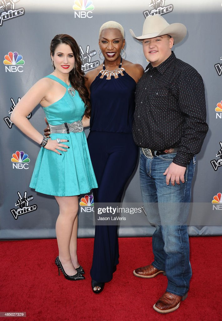 Singers <a gi-track='captionPersonalityLinkClicked' href=/galleries/search?phrase=Audra+McLaughlin&family=editorial&specificpeople=12523413 ng-click='$event.stopPropagation()'>Audra McLaughlin</a>, <a gi-track='captionPersonalityLinkClicked' href=/galleries/search?phrase=Sisaundra+Lewis&family=editorial&specificpeople=12521038 ng-click='$event.stopPropagation()'>Sisaundra Lewis</a> and <a gi-track='captionPersonalityLinkClicked' href=/galleries/search?phrase=Jake+Worthington&family=editorial&specificpeople=12502726 ng-click='$event.stopPropagation()'>Jake Worthington</a> attend 'The Voice' season 6 top 12 red carpet event at Universal CityWalk on April 15, 2014 in Universal City, California.