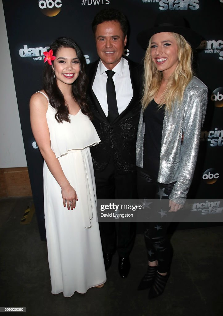 Singers Auli'i Cravalho, Donny Osmond and ZZ Ward attend 'Dancing with the Stars' Season 24 at CBS Televison City on April 17, 2017 in Los Angeles, California.