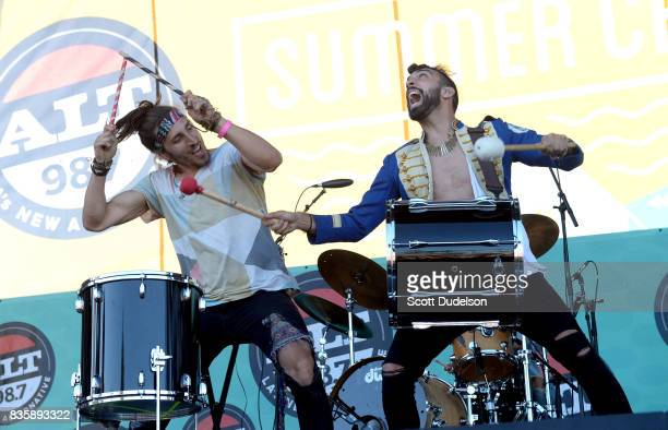 Singers Austin Bisnow and Zambricki Li of Magic Giant perform onstage during the Alt 987 Summer Camp concert at Queen Mary Events Park on August 19...