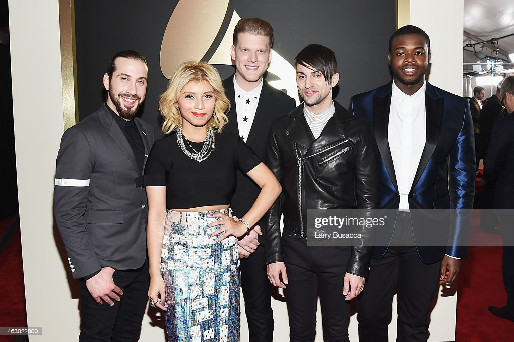Singers Avi Kaplan, Kirstie Maldonado, Scott Hoying, Mitch Grassi and Kevin Olusola of Pentatonix attend The 57th Annual GRAMMY Awards at the STAPLES Center on February 8, 2015 in Los Angeles, California.