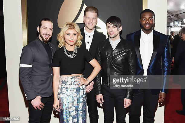 Singers Avi Kaplan Kirstie Maldonado Scott Hoying Mitch Grassi and Kevin Olusola of Pentatonix attend The 57th Annual GRAMMY Awards at the STAPLES...
