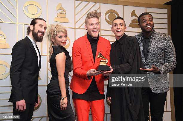 Singers Avi Kaplan Kirstie Maldonado Scott Hoying Mitch Grassi and Kevin Olusola of Pentatonix with their trophy for Best Arrangement Instrumental or...