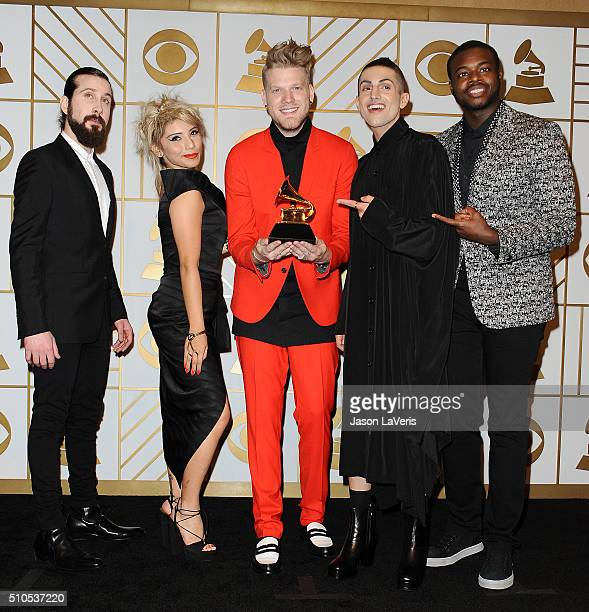Singers Avi Kaplan Kirstie Maldonado Scott Hoying Mitch Grassi and Kevin Olusola of Pentatonix pose in the press room at the The 58th GRAMMY Awards...