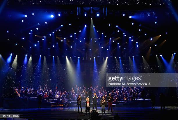 Singers Avi Kaplan Kirstin Maldonado Scott Hoying Mitch Grassi and Kevin Olusola of musical group Pentatonix perform onstage during day 1 of the 2015...
