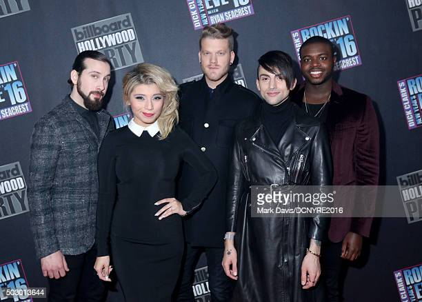 Singers Avi Kaplan Kirstin Maldonado Scott Hoying Mitch Grassi and Kevin Olusola of Pentatonix attends Dick Clark's New Year's Rockin' Eve with Ryan...