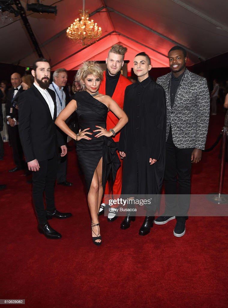 Singers Avi Kaplan, Kirstin Maldonado, Scott Hoying, Mitch Grassi and Kevin Olusola of Pentatonix attend The 58th GRAMMY Awards at Staples Center on February 15, 2016 in Los Angeles, California.