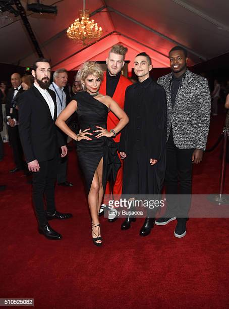 Singers Avi Kaplan Kirstin Maldonado Scott Hoying Mitch Grassi and Kevin Olusola of Pentatonix attend The 58th GRAMMY Awards at Staples Center on...