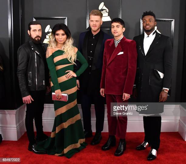 Singers Avi Kaplan Kirstin Maldonado Scott Hoying Mitch Grassi and Kevin Olusola of Pentatonix attend The 59th GRAMMY Awards at STAPLES Center on...