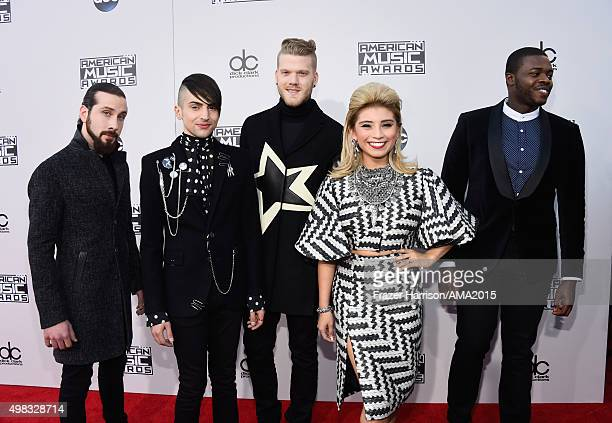 Singers Avi Kaplan Mitch Grassi Scott Hoying Kirstin Maldonado and Kevin Olusola of Pentatonix attend the 2015 American Music Awards at Microsoft...
