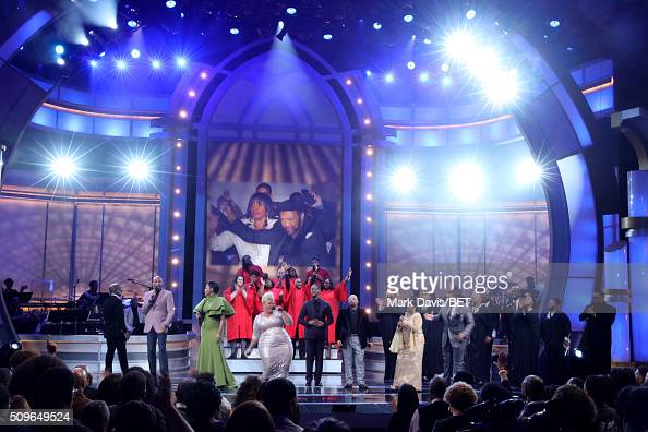 Singers Bebe Winans Donnie McClurkin Jessica Reedy Tamela Mann Donald Lawrence Kurt Carr Pastor Shirley Caesar and Geoffry Golden perform onstage...