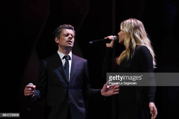 Singers Benjamin Biolay and Louane during the Opening Ceremony of the 70th annual Cannes Film Festival at Palais des Festivals on May 17 2017 in...