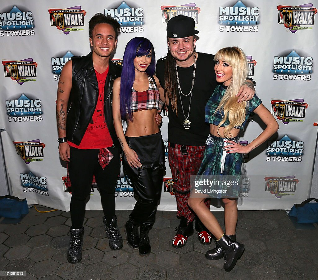 Singers Bennett 'Laze' Armstrong, Cosmo, Justyn 'Royal' Armstrong and Myah Marie of My Crazy Girlfriend attend the Icona Pop, Mystery Skulls, My Crazy Girlfriend and Blake Michael performance at Universal CityWalk's '5 Towers' Concert venue at 5 Towers Outdoor Concert Arena on February 21, 2014 in Universal City, California.