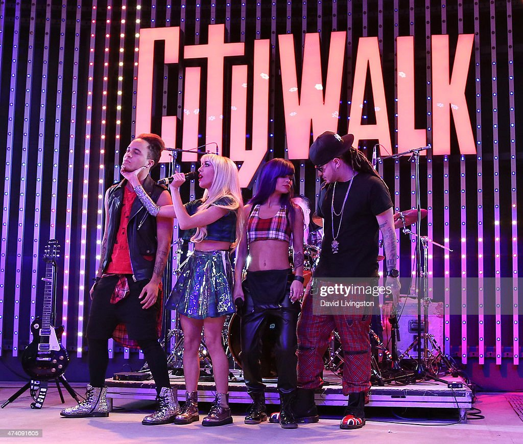 Singers Bennett 'Laze' Armstrong, Myah Marie, Cosmo and Justyn 'Royal' Armstrong of My Crazy Girlfriend perform on stage at the Icona Pop, Mystery Skulls, My Crazy Girlfriend and Blake Michael performance at Universal CityWalk's '5 Towers' Concert venue at 5 Towers Outdoor Concert Arena on February 21, 2014 in Universal City, California.