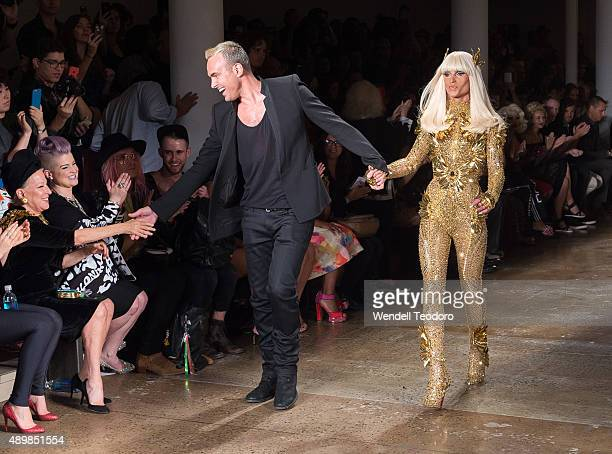 Singers Bette Midler Kelly Osbourne fashion designers David Blonde and Phillipe Blonde during The Blondes show at Milk Studios as part of the 'NYFW...