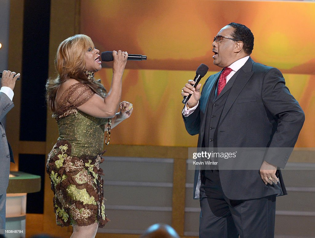Singers Betty Griffin Keller (L) and Dr. Bobby Jones perform onstage during the BET Celebration of Gospel 2013 at Orpheum Theatre on March 16, 2013 in Los Angeles, California.