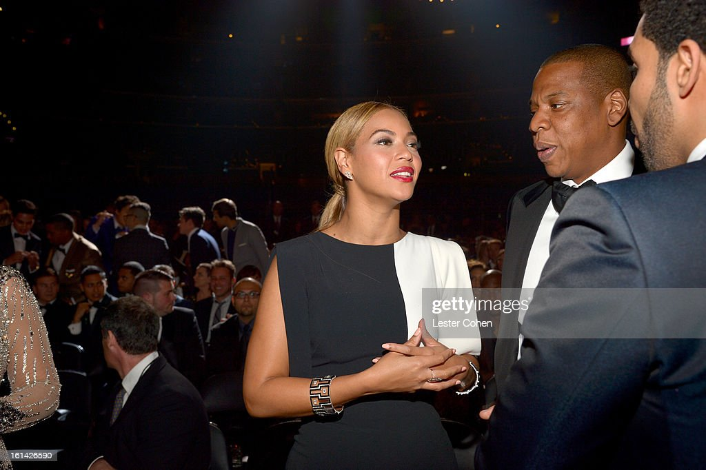 Singers Beyonce and Jay-Z attend the 55th Annual GRAMMY Awards at STAPLES Center on February 10, 2013 in Los Angeles, California.