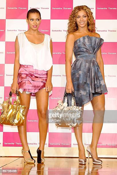 Singers Beyonce and Solange Knowles promote Samantha Thavasa Disney Collection at Tokyo Disneyland Hotel on August 10 2009 in Urayasu Chiba Japan