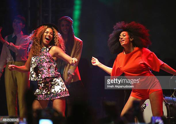 Singers Beyonce and Solange perform onstage during day 2 of the 2014 Coachella Valley Music Arts Festival at the Empire Polo Club on April 12 2014 in...