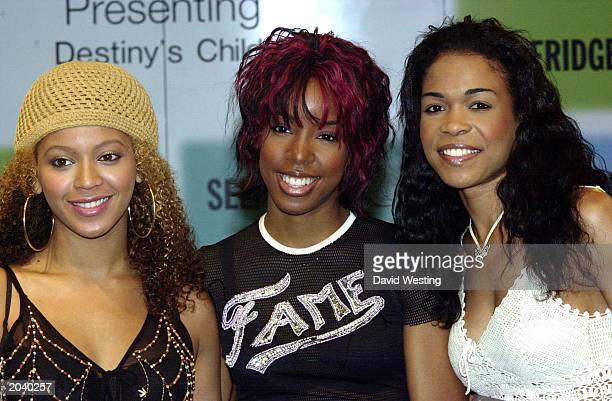 RB singers Beyonce Knowles Kelly Rowland and Michelle Williams from Destiny's Child attend the book launch of the band's autobiography 'Soul...