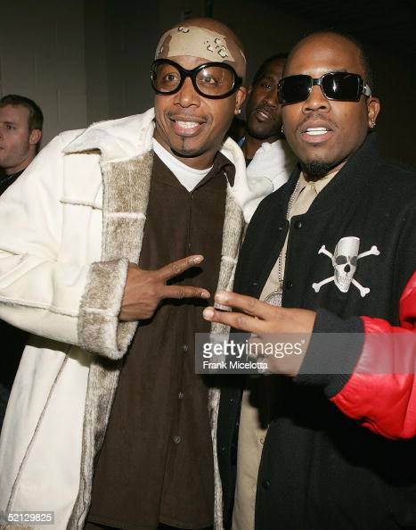 Singers Big Boi of Outkast and Hammer pose backstage at the Pepsi Smash Concert Series for Superbowl XXXIX February 3 2005 at the Jacksonville...