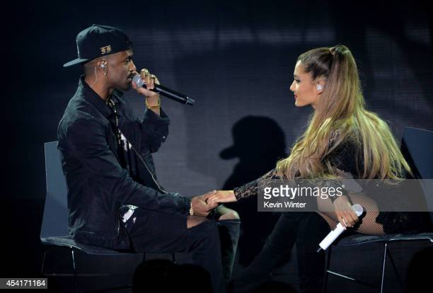 Singers Big Sean and Ariana Grande perform on The Honda Stage at the iHeartRadio Theater on August 18 2014 in Burbank California