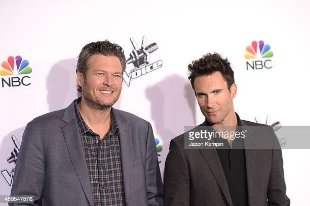 Singers Blake Shelton and Adam Levine attend NBC's 'The Voice' Season 7 Red Carpet Event at Universal CityWalk on November 24 2014 in Universal City...