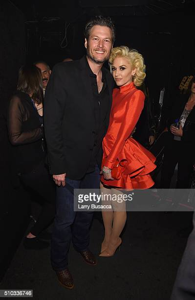 Singers Blake Shelton and Gwen Stefani attend the 2016 PreGRAMMY Gala and Salute to Industry Icons honoring Irving Azoff at The Beverly Hilton Hotel...