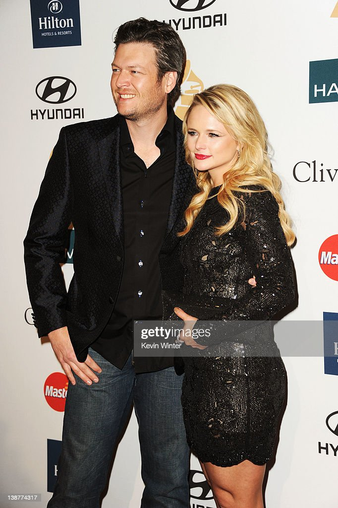 Singers Blake Shelton and Miranda Lambert arrive at Clive Davis and the Recording Academy's 2012 Pre-GRAMMY Gala and Salute to Industry Icons Honoring Richard Branson held at The Beverly Hilton Hotel on February 11, 2012 in Beverly Hills, California.