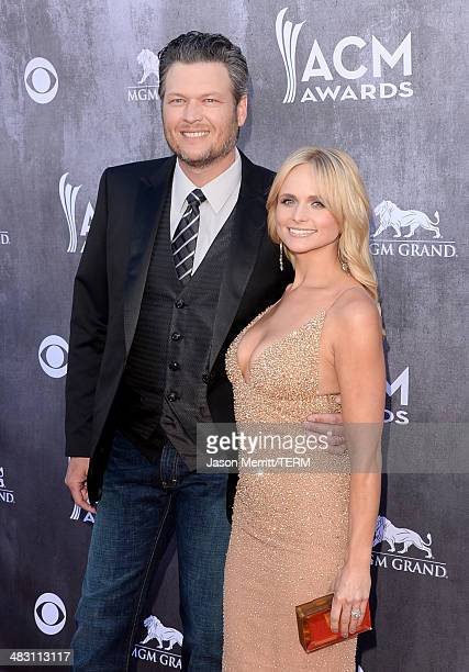 Singers Blake Shelton and Miranda Lambert attend the 49th Annual Academy Of Country Music Awards at the MGM Grand Garden Arena on April 6 2014 in Las...