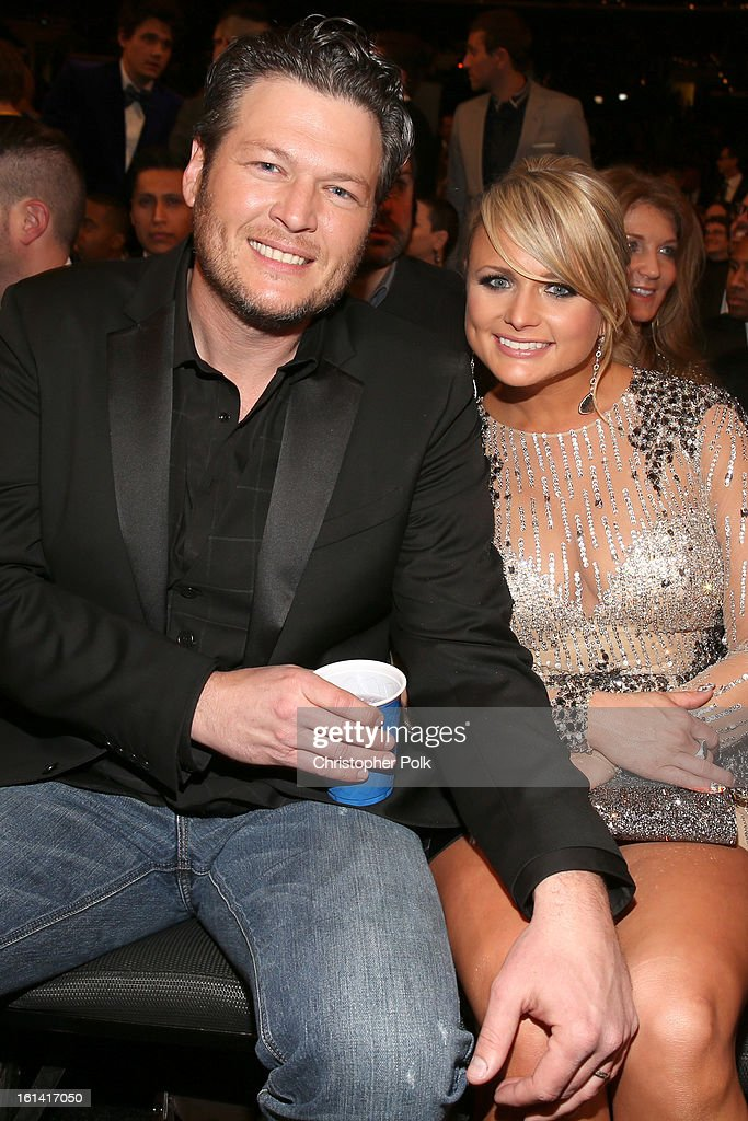 Singers Blake Shelton (L) and Miranda Lambert attend the 55th Annual GRAMMY Awards at STAPLES Center on February 10, 2013 in Los Angeles, California.