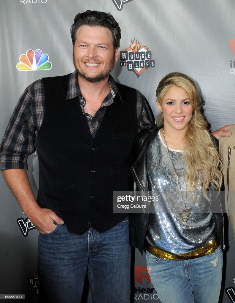 Singer's <a gi-track='captionPersonalityLinkClicked' href=/galleries/search?phrase=Blake+Shelton&family=editorial&specificpeople=2352026 ng-click='$event.stopPropagation()'>Blake Shelton</a> and <a gi-track='captionPersonalityLinkClicked' href=/galleries/search?phrase=Shakira&family=editorial&specificpeople=160650 ng-click='$event.stopPropagation()'>Shakira</a> arrive at NBC's 'The Voice' Season 4 premiere at House of Blues Sunset Strip on May 8, 2013 in West Hollywood, California.