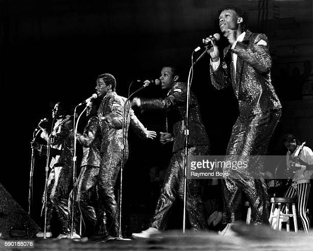 Singers Bobby Brown Ricky Bell Ralph Tresvant Michael Bivins and Ronnie DeVoe from New Edition performs at the UIC Pavilion in Chicago Illinois in...