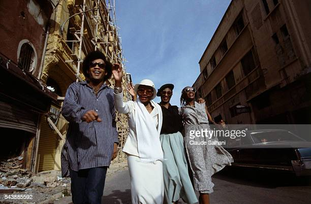 Singers Bobby Farrell Marcia Barrett Liz Mitchell and Maizie Williams from the West disco pop band Boney M in concert in Beirut