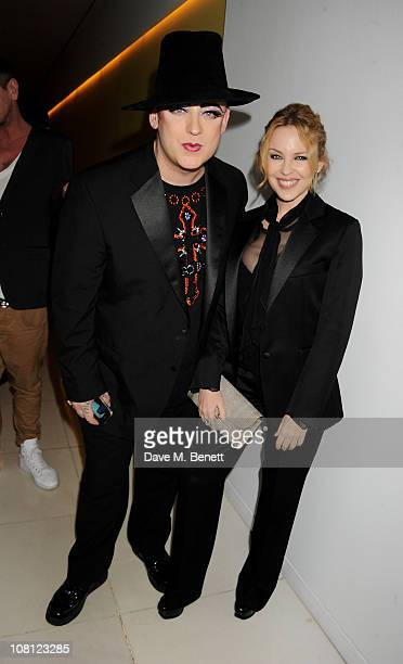 Singers Boy George and Kylie Minogue attend an after party for the opening of Robert Mapplethorpe Night Work hosted by Scissor Sisters at St Martins...