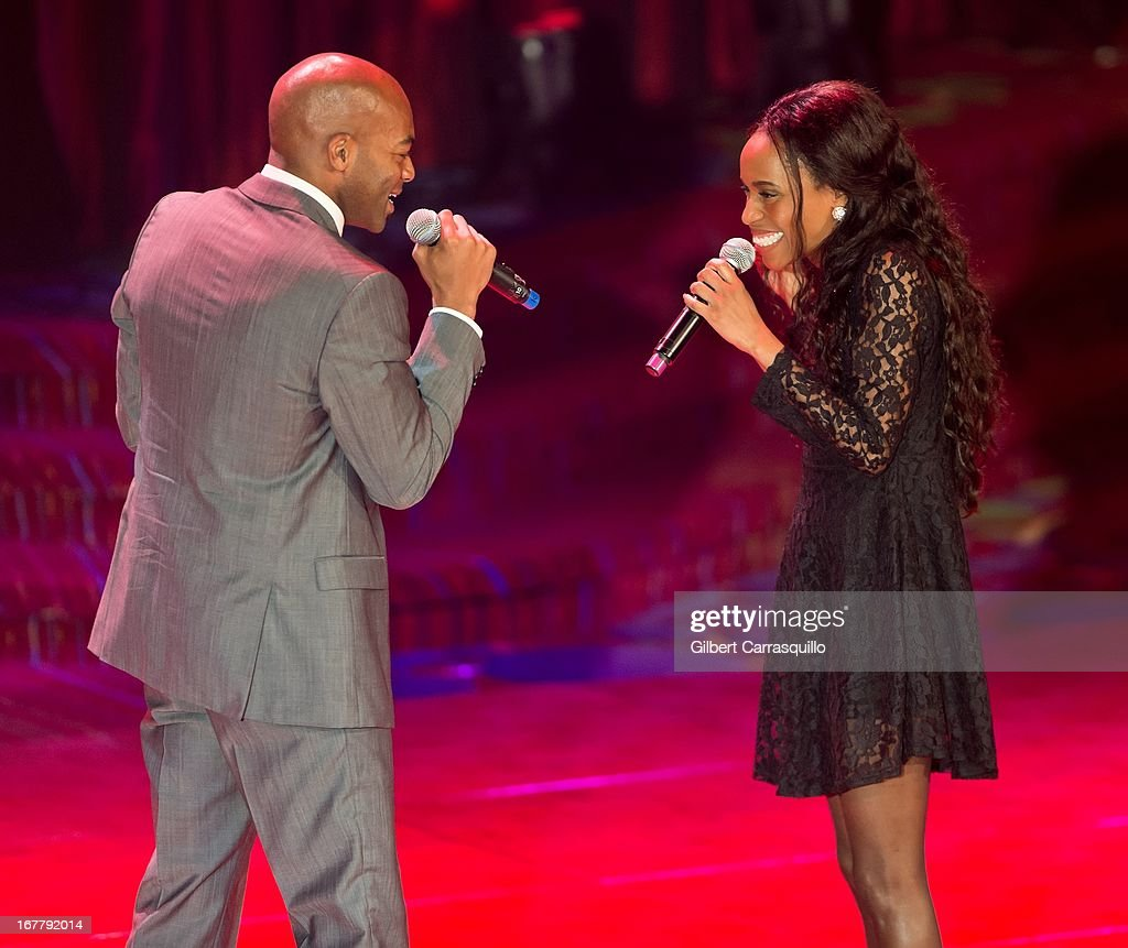 Singers Brandon Victor Dixon (L) and Valisia LeKae attend the 2013 Actors Fund's Annual Gala Honoring Robert De Niro at The New York Marriott Marquis on April 29, 2013 in New York City.