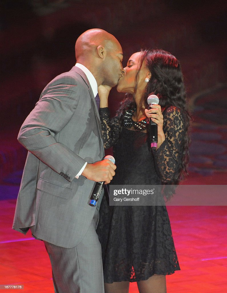 Singers Brandon Victor Dixon (L) and Valisia LeKae perform on stage at the 2013 Actors Fund Gala at the Marriott Marquis Hotel on April 29, 2013 in New York City.