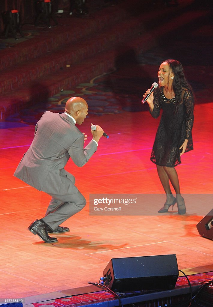 Singers Brandon Victor Dixon (L) and Valisia LeKae performattends the 2013 Actors Fund Gala at the Marriott Marquis Hotel on April 29, 2013 in New York City.