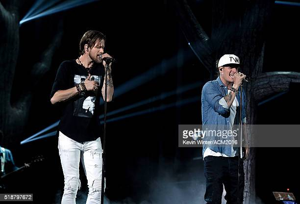 Singers Brian Kelley and Tyler Hubbard of Florida Georgia Line rehearse onstage during the 51st Academy of Country Music Awards at MGM Grand Garden...