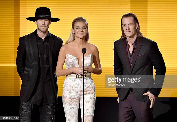 Singers Brian Kelley Kelsea Ballerini and Tyler Hubbard speak onstage during the 2015 American Music Awards at Microsoft Theater on November 22 2015...