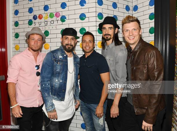 Singers Brian Littrell AJ McLean Howie Dorough Kevin Richardson and Nick Carter of the Backstreet Boys attend the grand opening of Sugar Factory...