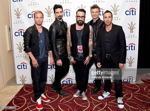 Singers Brian Littrell Kevin Richardson AJ McLean Nick Carter and Howie Dorough of the band Backstreet Boys pose backstage before performing at the...