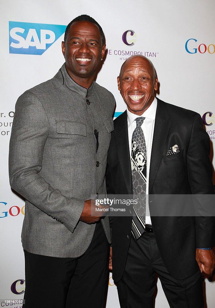 Singers <a gi-track='captionPersonalityLinkClicked' href=/galleries/search?phrase=Brian+McKnight&family=editorial&specificpeople=206619 ng-click='$event.stopPropagation()'>Brian McKnight</a> and Jeffrey Osborne attend the 8th All Star Celebrity Classic benefiting the Mr October Foundation for Kids at Cosmopolitan Hotel on November 11, 2012 in Las Vegas, Nevada.