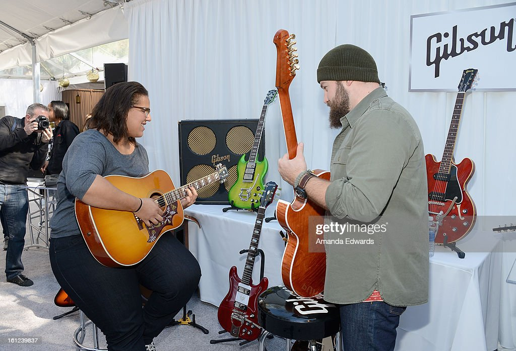 Singers Brittany Howard of the Alabama Shakes and Zac Brown of the Zac Brown Band attend the GRAMMY Gift Lounge during the 55th Annual GRAMMY Awards at STAPLES Center on February 9, 2013 in Los Angeles, California.