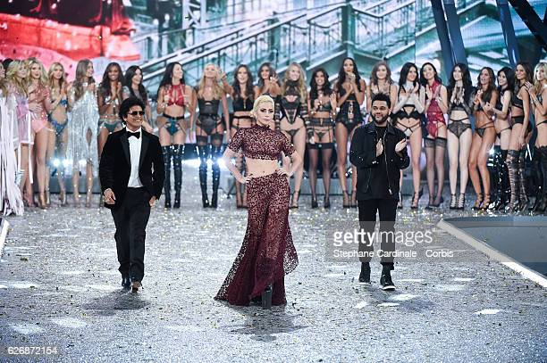 Singers Bruno Mars Lady Gaga and The Weeknd on the runway for the 2016 Victoria's Secret fashion show at Le Grand Palais on November 30 2016 in Paris...