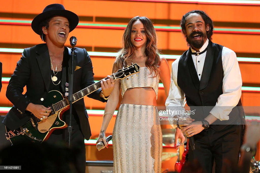 Singers <a gi-track='captionPersonalityLinkClicked' href=/galleries/search?phrase=Bruno+Mars&family=editorial&specificpeople=6779692 ng-click='$event.stopPropagation()'>Bruno Mars</a>, <a gi-track='captionPersonalityLinkClicked' href=/galleries/search?phrase=Rihanna&family=editorial&specificpeople=453439 ng-click='$event.stopPropagation()'>Rihanna</a> and <a gi-track='captionPersonalityLinkClicked' href=/galleries/search?phrase=Damian+Marley&family=editorial&specificpeople=224631 ng-click='$event.stopPropagation()'>Damian Marley</a> perform onstage during the 55th Annual GRAMMY Awards at STAPLES Center on February 10, 2013 in Los Angeles, California.